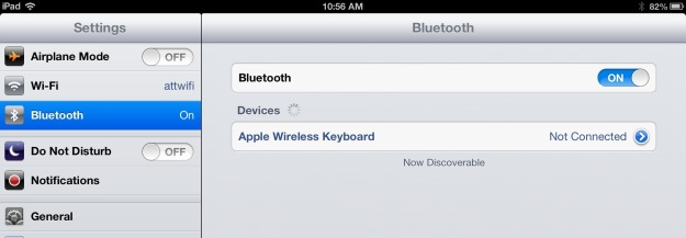 The iPad Bluetooth Menu